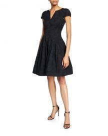 Halston Cap-Sleeve Notch-Neck Jacquard Dress at Neiman Marcus