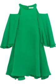 Halston Heritage   Cold-shoulder ruffled twill mini dress at Net A Porter