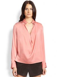 Halston Heritage - Silk Cowl-Front Blouse at Saks Fifth Avenue