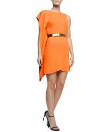 Halston Heritage Asymmetric Drape Sleeve Dress with Belt Tangerine at Neiman Marcus
