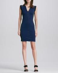 Halston Heritage Colorblock Front-Zip Ponte Dress at Neiman Marcus