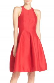 Halston Heritage Cotton   Silk Fit   Flare Dress at Nordstrom