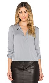 Halston Heritage Drape Neck Blouse in Haze at Revolve