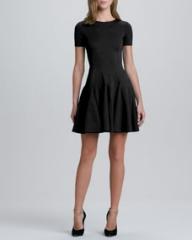 Halston Heritage Flare Skirt Ponte Dress Black at Neiman Marcus