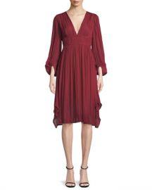 Halston Heritage Flowy Bishop Sleeve Ruched Dress at Neiman Marcus