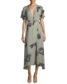Halston Heritage Flutter-Sleeve Printed Silk Faux-Wrap Dress at Neiman Marcus