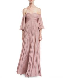 Halston Heritage Off-the-Shoulder Pleated Gown at Neiman Marcus
