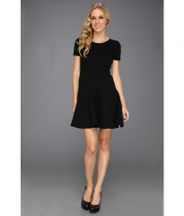 Halston Heritage Short Sleeve Ponte Dress w Flare Skirt Black at 6pm