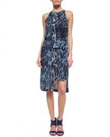 Halston Heritage Sleeveless Feather-Print Tiered-Hem Dress at Neiman Marcus