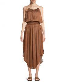 Halston Heritage Smocked-Waist Sleeveless Dress at Neiman Marcus