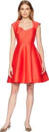 Halston Heritage Womens Cap Sleeve V-Neck Structure Dress w Bow at Amazon