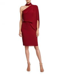 Halston One-Shoulder Wrap-Neck Asymmetric Draped Dress at Neiman Marcus