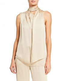Halston Scarf Neck Sleeveless Satin Top at Neiman Marcus