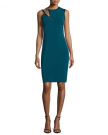 Halston Sleeveless Cutout Sheath Dress at Neiman Marcus