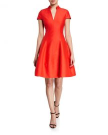 Halston V-Neck Cap-Sleeve Silk Faille Dress w  Mandarin Collar at Neiman Marcus