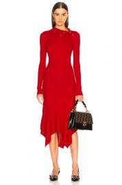 Handkerchief Hem Long Sleeve Midi Dress by Stella McCartney at Forward