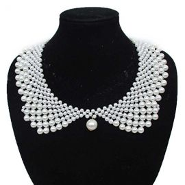 Handmade Faux Pearls Detachable False Collar Necklace  at Amazon