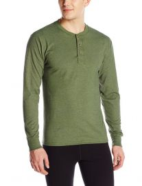 Hanes Menand39s Long Sleeve Beefy-T Henley T-Shirt in forest at Amazon