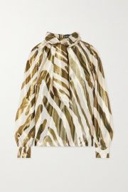 Haney - Billie metallic zebra-print silk and Lurex-blend blouse at Net A Porter