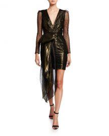 Haney Simone Metallic V-Neck Long-Sleeve Drape Front Mini Dress at Neiman Marcus