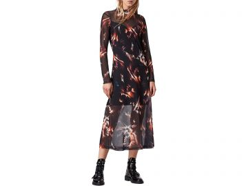 Hanna Flames Mesh A-Line Midi Dress by All Saints at Zappos