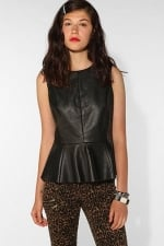 Hanna's black leather peplum top at Urban Outfitters at Urban Outfitters
