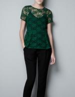 Hanna's green lace top at Zara