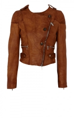 Hanna's tan leather jacket at Karenmillen