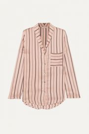 Hanro - Malie striped satin-piqu   pajama top at Net A Porter