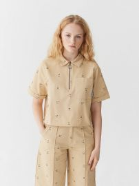 Happy Sad Cropped Zip Shirt at Lazy Oaf
