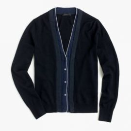 Harlow cardigan sweater with tipped-silk underlay at J. Crew