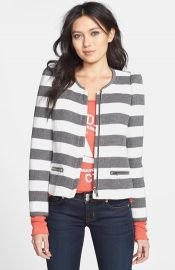 Harlowe and Graham Stripe Collarless Jacket at Nordstrom