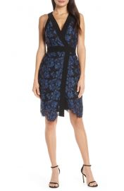 Harlyn Two-Tone Lace Surplice Cocktail Dress   Nordstrom at Nordstrom