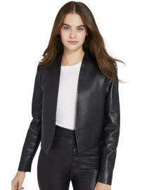 Harvey Open Leather Jacket at Alice and Olivia