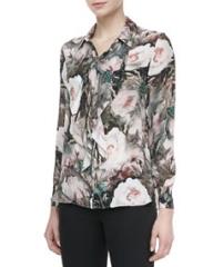 Haute Hippie Dream Floral-Print Silk Blouse at Neiman Marcus