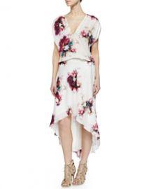 Haute Hippie Floral-Print Silk Drawstring Dress at Neiman Marcus