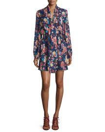 Haute Hippie Free Love Floral Silk Mini Dress  San Franciscan Night at Neiman Marcus