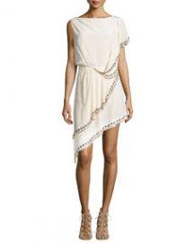 Haute Hippie GrommetNailhead-Trim Asymmetric Dress at Neiman Marcus