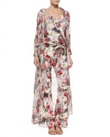 Haute Hippie Hooded Floral-Print Chiffon Maxi Jacket at Neiman Marcus