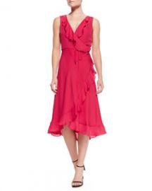 Haute Hippie Lay Me Down Ruffled Halter Long Wrap Dress at Neiman Marcus