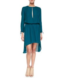 Haute Hippie Long-Sleeve Keyhole-Front Dress  Blue Coral at Neiman Marcus