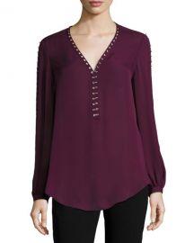 Haute Hippie Sagat Split-Sleeve Silk Blouse at Neiman Marcus