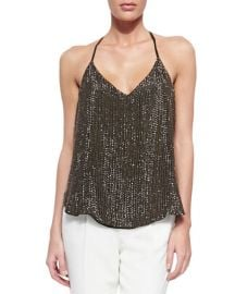 Haute Hippie Sequined T-Back Mesh Top Buff in Military at Neiman Marcus