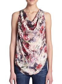 Haute Hippie Silk Floral Draped-Front Top at Saks Fifth Avenue