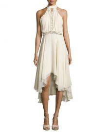 Haute Hippie The Free Spirit Lace-Up Silk Dress  Antique White at Neiman Marcus