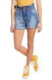 Hayley Paperbag Waist Denim Shorts at Nordstrom