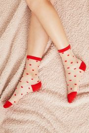 Heart Motif Sheer Socks by Urban Outfitters  at Urban Outfitters