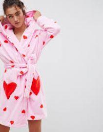 Heart Print Supersoft Robe at ASOS