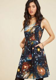 Heart and Solar System A-Line Dress at ModCloth