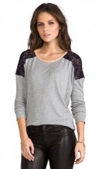 Heather Lace Shoulder Top in Light Heather Grey  REVOLVE at Revolve